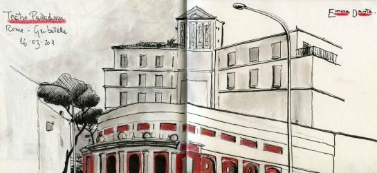 Disegno del Teatro Palladium realizzato da Emma Dante